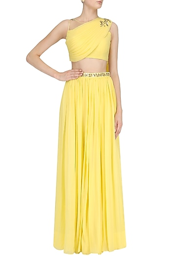 Yellow Floral Embroidered Skirt Drape