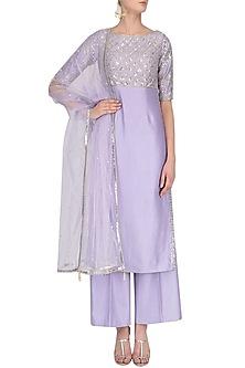 Lavender Gota and Cutdana Embroidered Kurta and Pants Set by Pooja Peshoria