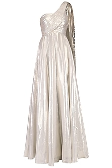 Soft Gold One Shouldere Drape Gown