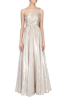 Soft Gold One Shouldere Drape Gown by Pooja Peshoria