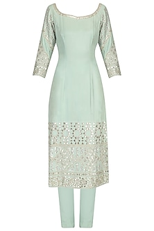 Pistachio Green Gota Embroidered Kurta and Pants Set by Pooja Peshoria