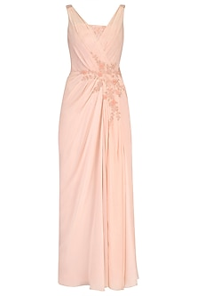 Pale Peach Floral Embroidered Drape Gown by Pooja Peshoria
