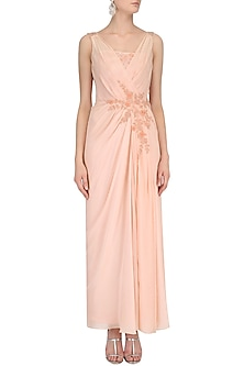 Peach Floral Embroidered Drape Gown