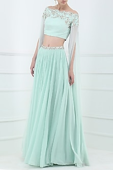 Pastel Blue Embroidered Off Shoulder Crop Top with Lehenga Skirt by Pooja Peshoria