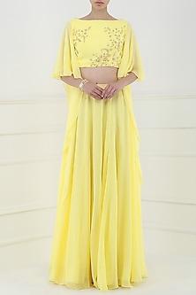 Lemon Yellow Embroidered Crop Top with Lehenga Skirt by Pooja Peshoria
