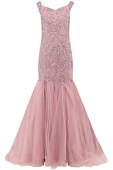 Deep Rose Embroidered Mermaid Cut Gown