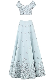 Pastel Blue Embroidered Lehenga Set by Pooja Peshoria