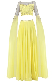 Lemon Yellow Embroidered Cape Sleeves Crop Top with Lehenga Skirt