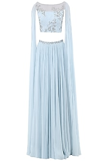 Pastel Blue Embroidered Two Slit Cape Sleeves Crop Top with Lehenga Skirt