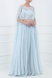 Pastel Blue Embroidered Two Slit Cape Sleeves Crop Top with Lehenga Skirt by Pooja Peshoria