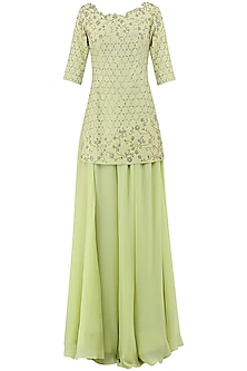 Lime Green Embroidered Sharara Pants Set