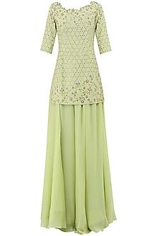 Lime Green Embroidered Sharara Pants Set by Pooja Peshoria