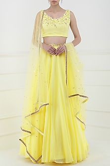 Lemon Yellow Embroidered Lehenga Set by Pooja Peshoria