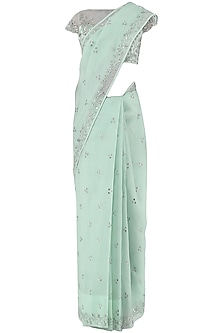 Pastel Blue Embroidered Saree with Blouse