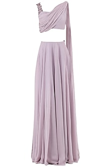 Mauve Embroidered Drape Crop Top with Lehenga Skirt
