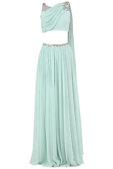 Pastel Blue Embroidered Drape Crop Top with Lehenga Skirt by Pooja Peshoria