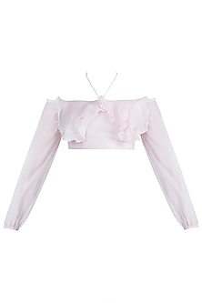 Pink Off Shoulder Ruffle Top