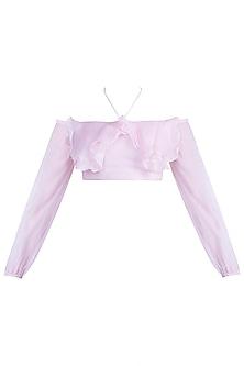Pink Off Shoulder Ruffle Top by Pernia Qureshi