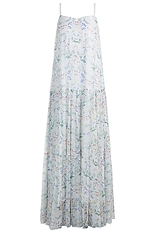 Ivory Floral Printed Maxi Dress by Pernia Qureshi