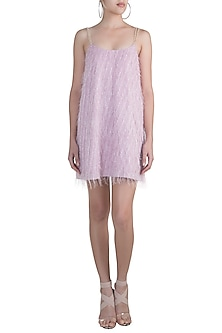Lilac Feathered Strappy Dress by Pernia Qureshi