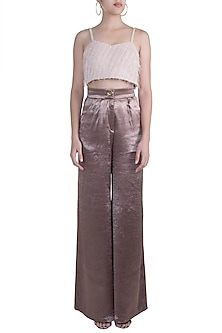 Bronze High-Rise Pleated Pants by Pernia Qureshi