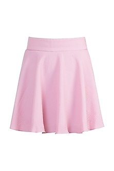Pink Textured Wrap Skirt