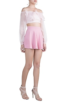 Pink Textured Wrap Skirt by Pernia Qureshi