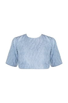 Blue Feathered Crop Top