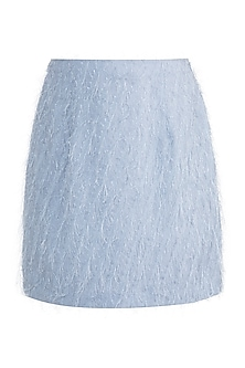 Blue Feathered Mini Skirt