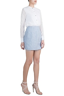 Blue Feathered Mini Skirt by Pernia Qureshi