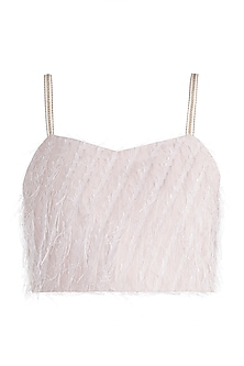 Peach Feathered Crop Top