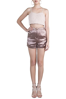 Peach Feathered Crop Top by Pernia Qureshi
