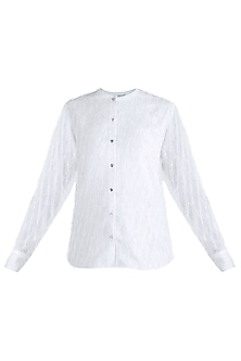 White Feathered Shirt by Pernia Qureshi