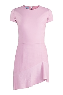 Pink Asymmetric Ruffled Dress by Pernia Qureshi