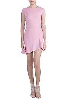 Pink Asymmetric Ruffled Dress by Pernia Qureshi