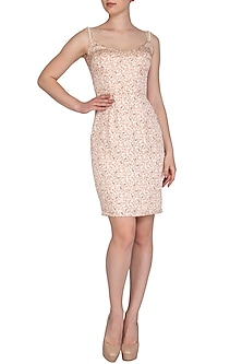 Beige Paisley Printed Pearl Strap Dress by Pernia Qureshi