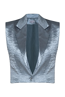 Silver Blue Cropped Jacket by Pernia Qureshi