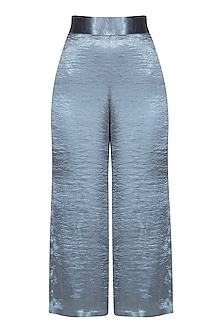 Silver Blue High-Waisted Culotte Pants by Pernia Qureshi