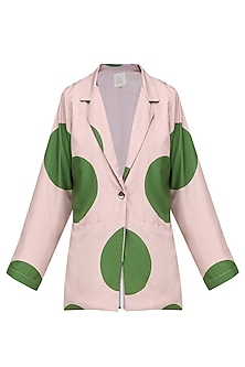 Long Pink Georgette Blazer with Lapel Collar and Long Sleeves