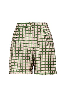 Pink and Green Micro Suiting Checkered Shorts by Platform 9