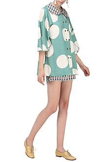 Teal Blue Buttoned Georgette Scuba Top by Platform 9