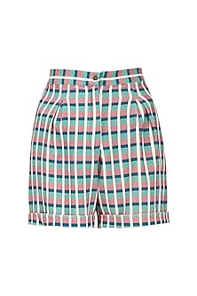 Teal Blue and Black Micro Suiting Checkered Shorts