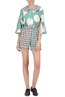 Teal Blue and Black Micro Suiting Checkered Shorts by Platform 9
