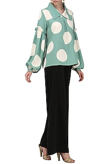 A Teal Blue Georgette Top with Collar and Ruffle Sleeves by Platform 9
