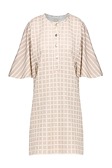 A Pink Scuba Georgette Shift Dress with Checks and Strips by Platform 9