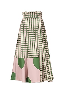 A Pink High Waisted Pleated Midi Skirt In Micro Suiting by Platform 9