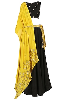 Mustard Yellow Embroidered Drape Lehenga Set