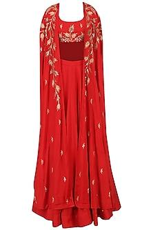 Red Lehenga and Embroidered Cape Set by Prathyusha Garimella