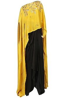 Mustard Embroidered Cape and Drape Skirt Set