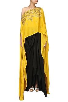 Mustard Embroidered Cape and Drape Skirt Set by Prathyusha Garimella